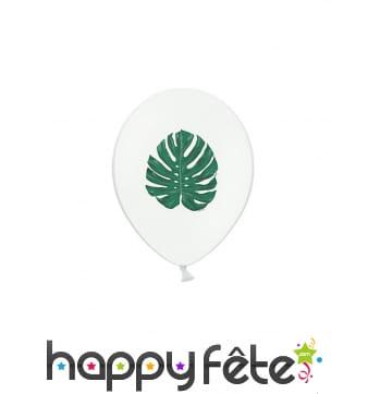 6 Ballons blancs imprimé feuille tropicale de 30cm