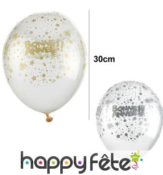 6 Ballons Bonne année transparents de 30 cm