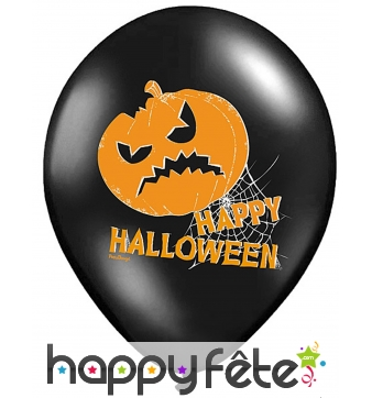 6 Ballons Citrouille Halloween sur fond noir
