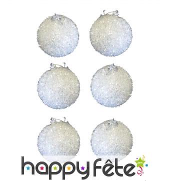 6 boules de Noël blanches ouatées à paillettes