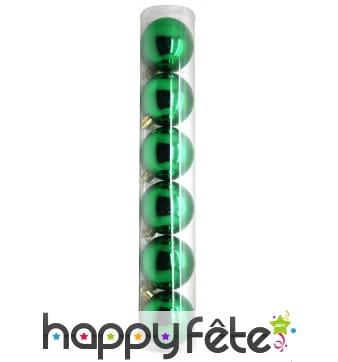 6 boules de noel vertes brillantes de 6 cm