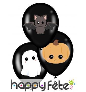 6 Ballons halloween noirs monstres mignons, 28 cm