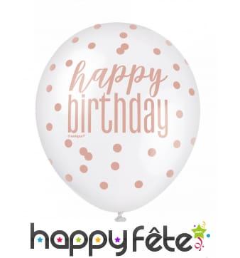 6 Ballons happy birthday à pois de 30 cm