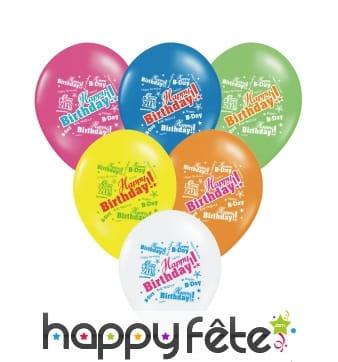 6 Ballons Happy Birthday de toutes les couleurs