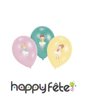 6 Ballons imprimé danseuse rose vert jaune, 27,5cm