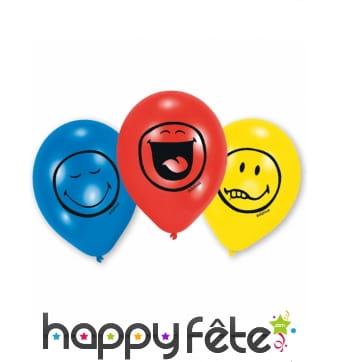 6 Ballons imprimé émoticônes