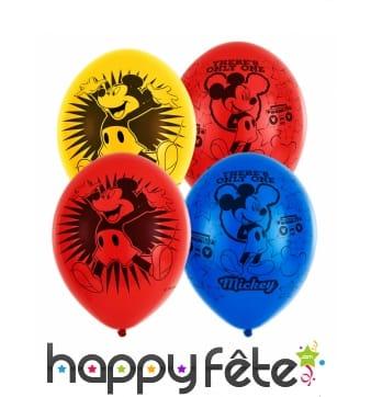 6 Ballons imprimé Mickey Mouse happy de 27,5 cm
