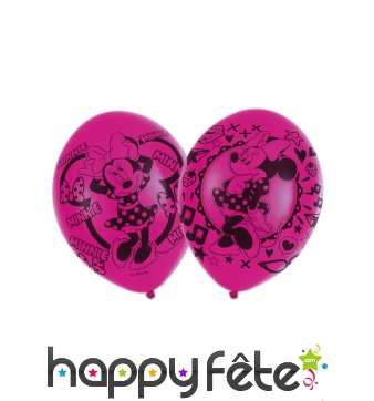6 Ballons Minnie Mouse amoureuse fuchsia de 27,5cm
