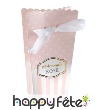 6 boites Mademoiselle Rose pour dragées