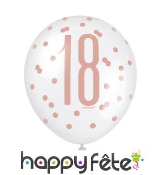 6 Ballons nombre 18 blancs et roses à pois, 30 cm