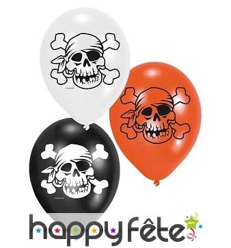 6 Ballons pirates imprimés tête de mort