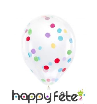 6 Ballons transparents imprimé confettis, 30 cm
