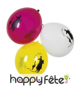 6 Ballons wild west de 25cm