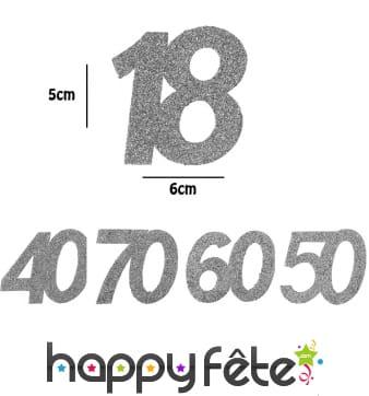 6 confetti âge argentées de 5cm