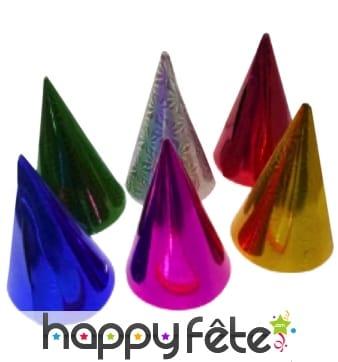 6 chapeaux cotillon colorés