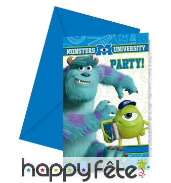 6 cartes d'invitation Monster University