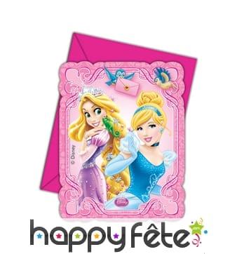 6 cartes d'invitation princesse disney