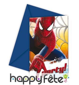 6 cartes d'invitations spiderman 2