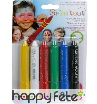6 crayons de maquillage à l'eau