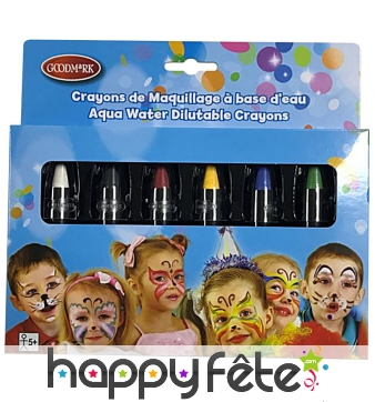 6 crayons de maquillage rétractables, enfant
