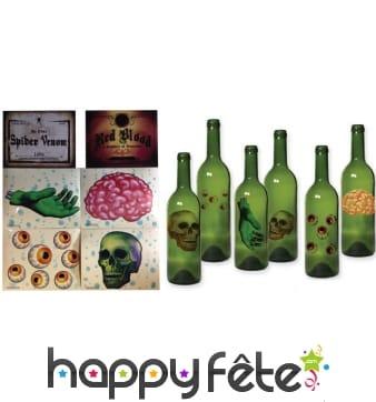 6 décors Halloween pour bouteille