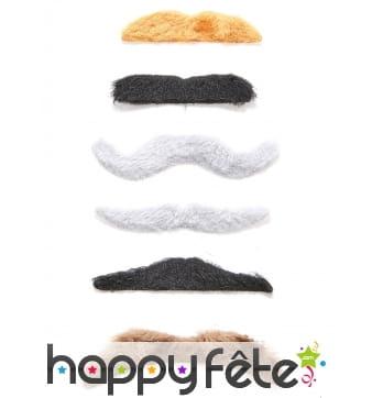 6 moustaches adhésives multi formes et couleurs
