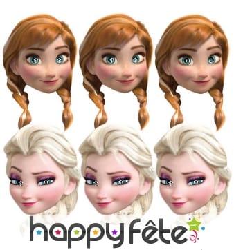 6 masques de Anna et Elsa, Reine des neiges