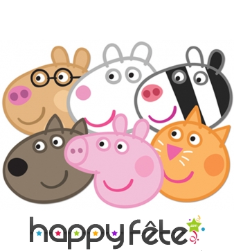6 masques des personnages de Peppa pig