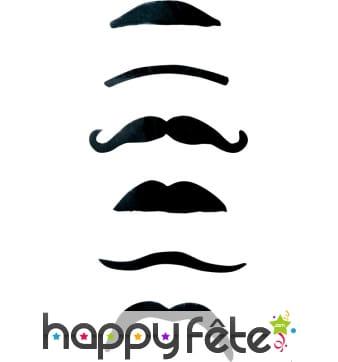 6 moustaches noires