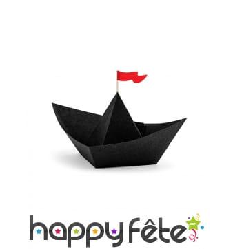 6 origamis en forme de bateau noirs de 19 cm