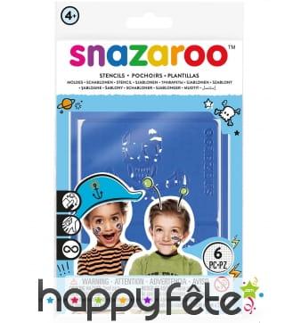 6 Pochoirs motifs garçons de la marque Snazaroo