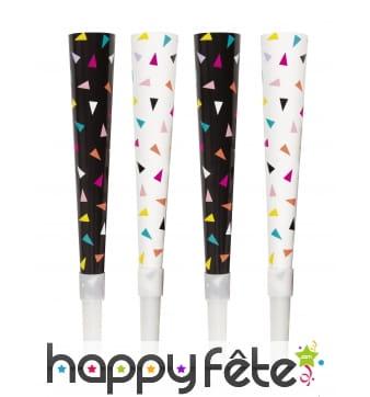 6 Trompettes cotillon motif confettis colorés