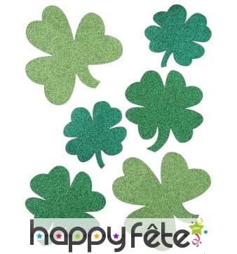 6 Trèfles paillettés St Patrick en papier