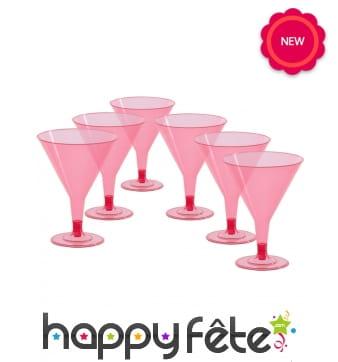 6 Verres à cocktails rose sur pied