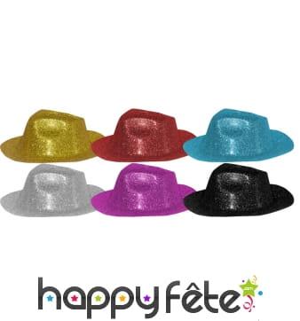 72 chapeaux capone colorés à paillettes