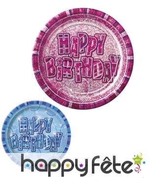 8 assiettes Happy Birthday de 23cm