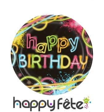 8 assiettes Happy Birthday soirée fluo, 22cm