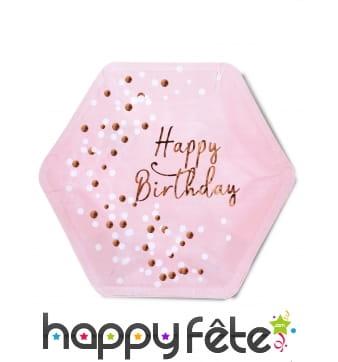 8 Assiettes hexagonales rose Happy Birthday