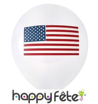 8 Ballons imprimé drapeau Américain