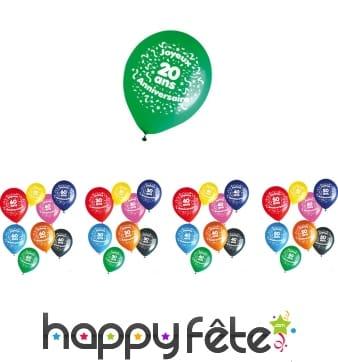 8 ballons joyeux anniversaire et âge imprimé