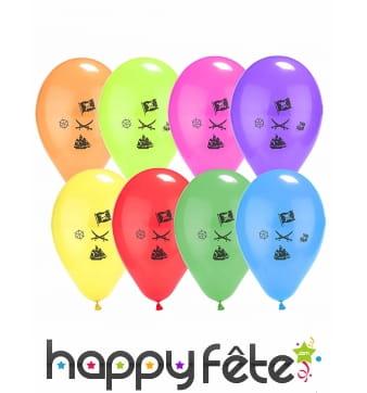 8 Ballons Pirates sur fond coloré