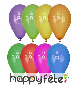 8 Ballons princesse sur fond coloré