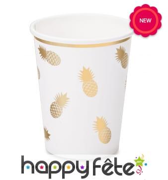 8 Gobelets blancs décorés d'ananas dorés