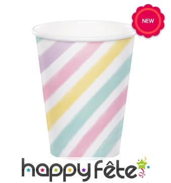 8 Gobelets coloris pastels motifs lignés