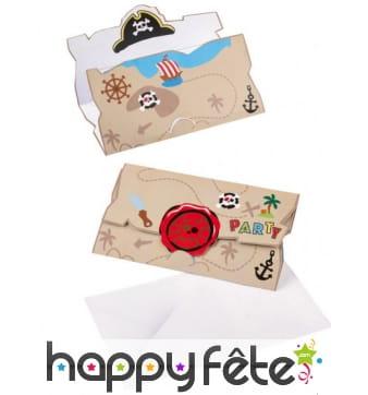 8 Invitations et enveloppes d'anniversaire Pirate
