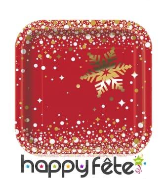 8 Petites assiettes pour Noël carrées rouge et or