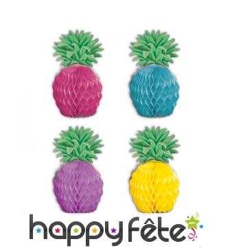 8 petits ananas en papier colorés de 12 cm