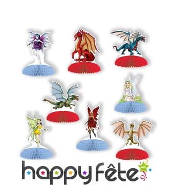 8 petits centres de table fées dragons en papier