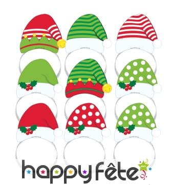 8 serre-têtes bonnet de Noël