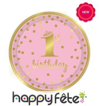 Assiettes 1st Birthday rose et doré, 23cm. Par 8